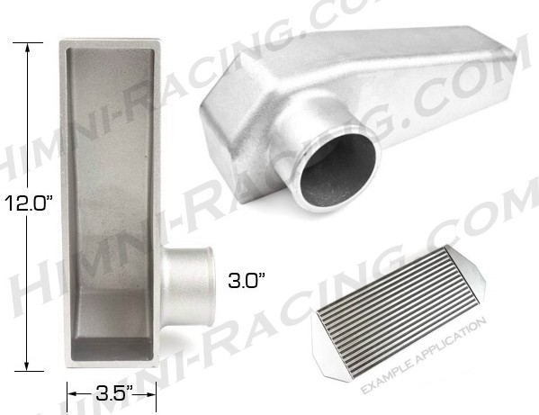 "Intercooler End Tank - 12"" x 3""x 3"" In/Out #1"